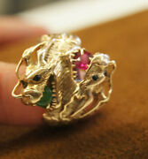 Old Art Nouveau Natural Jade Ruby 14k Hand Made Gold Dragon Ring 10.25 Video 87b