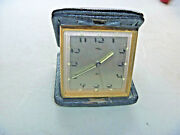 Vintage Swiss Imhof Wind Up 8 Day Travel Alarm Clock Rare Art Deco Dial