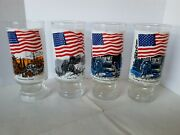 1976 Anchor Hocking Bicentennial Glasses Promontory Point, Peary, And Flag Of Usa