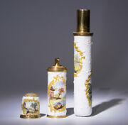 Rare Staffordshire Enamel Bodkin Case With Thimble And Perfume Flask C. 1770