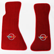 New Red Floor Mats 1984-1996 Corvette With Embroidered Circle Official Logo Slv