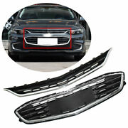 For Chevy Malibu 16-18 Honeycomb Mesh Chrome Front Bumper Upper + Lower Grille