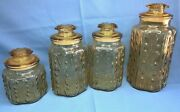 Vintage L. E. Smith Imperial Amber Glass Atterbury Scroll Canister Jar Set Of 4