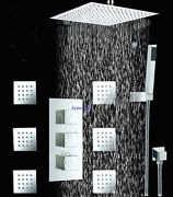 24 Rain Shower Head Thermostatic 3 Way Valve 6 Massage Jets Hand Shower Faucet