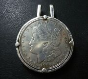 One Of A Kind Money Clip Sterling / 1921 Morgan Dollar Cut In Two