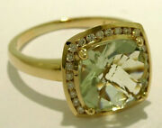 R211 Genuine 9k Or 18k Gold Natural Green Amethyst Diamond Halo Ring In Yr Size