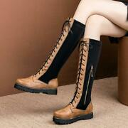 Spliced Womens Motorcycle Flats Creeper Platform Knee High Boots Plus Size 14 15