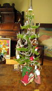 Antique Christmas Goose Feather Tree ,glass Items ,cotton Tinsel, Germany