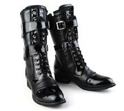 Mens Gothic Punk Lace Up Mid Calf Boot Military Motorcycle Biker Shoes Fashion
