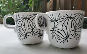Set Of 2 Ikea Coffee And Tea Mugs - White And Black Abstract Designs - Stamped 15199