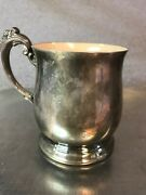 King Francis Reed And Barton 1638 Pink Enameled Lined Silverplated Cup Monogramed