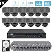 Hikvision Generic 16ch 4k 8mp Poe Nvr 12 X 5mp Dome Camera Security System 4tb