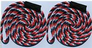 Red White Blue Solid Braid Nylon Dock Line 3/8 X 15and039 Floats Usa Made 2-pack