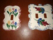 2 Vintage Multiple Color Floral Porcelain Light Switch Plate Covers Dbl And Single