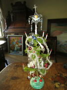 Antique Christmas Goose Feather Tree Glass Items Tinsel Germany