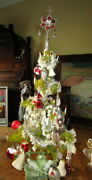 Antique Christmas Goose Feather Tree Glass Itemstinsel Cottonbarn - Germany