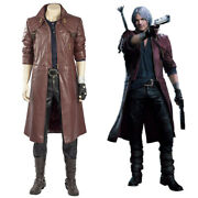 Devil May Cry 5 Dante Cosplay Costume Leather Men Suit Halloween Full Set Outfit