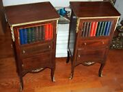 Pair Night Stand Gorgeous Books Motif With Ormolo And Wood 3 Levels H=31 3/8