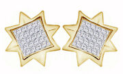 1/3ct. Simulated 18k Yellow Gold Over 8 Point Star Mens Ladies Pave Earrings