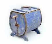 Antique 19th Swedish Blue Butter Churn, Country, Decorative Wooden Rustic Pine