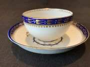 Antique Royal Crown Derby Gold Cobalt Chinese Export Cup And Saucer Puce 1792-1800