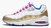 Nike Air Max 95 Le White Gold Blue Girls Shoes 310830-120 Size 5y And 5.5y