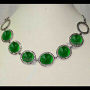 Vintage 5.32cts Rose Cut Diamond Emerald Studded Silver Wedding Necklace Jewelry