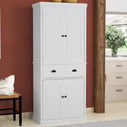 72 Double Kitchen Pantry Tall Cabinet Cupboard Food Storage Organize Rack Wood