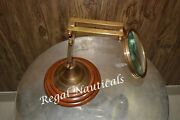 Brass Magnifying Glass On Wood Stand - Nautical - Vintage - Magnifier - Office