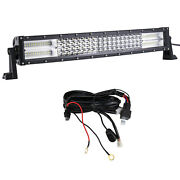 22inch 4 Rows Curved Led Work Light Bar Combo+wiring Harness For Truck Boat Car