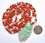 1930's Chinese Jade Jadeite Carved Boy Natural Red Coral Pearl Bead Necklace