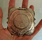 Vintage Sterling Silver Powder Compact Hand Chased Aztec Sun And Swirls