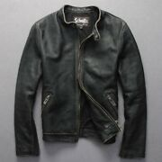 Menand039s Motorcycle Biker Leather Jackets Punk Vintage Old Long Sleeve Zipper Chic