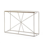48 L Gustav Console Sofa Table Solid Iron Tempered Glass Antique Brass Modern