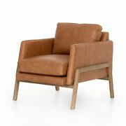 30.5 W Timotea Occasional Chair Angular Track Arms Wooden Base Aniline Leather