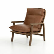 27 W Tarquinio Occasional Chair Top Grain Leather Flanged Edge Ladder Back