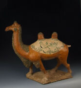 One Large Painted Tri-colored Pottery Camel Statue