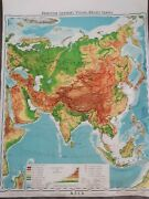 Vintage 1963 Denoyer Geppert Pull Down Topographical Bathymetric Aisa Map Cloth