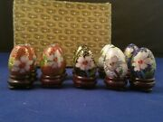 Mini Cloisonne Enamel 10 Eggs 1 1/4h With Wooden Stand 1 5/8h