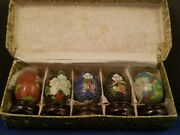 Mini Cloisonne Enamel 5 Eggs 1 1/4h With Wooden Stand 1 5/8h
