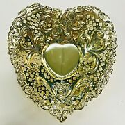 Antique Gorham Gold Plated Sterling Silver Heart Shaped Candy Dish
