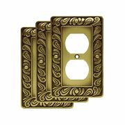 Franklin Brass Paisley Single Duplex Wall Plate Tumbled Antique Brass Pack Of 3