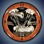 Vintage V Twin Wall Clock Led Lighted