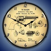 Colt Peacemaker Patent Wall Clock Led Lighted