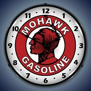 Mohawk Gasoline Wall Clock, Led Lighted Gas / Oil Theme