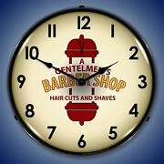 Barber Shop 2 Wall Clock Led Lighted Sports