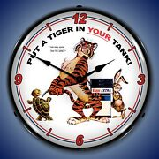Esso Tiger Wall Clock, Led Lighted Gas / Oil Theme