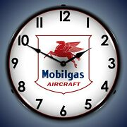 Mobilgas Avaition Wall Clock, Led Lighted Airplane Theme