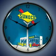 Sunoco Gas Wall Clock Led Lighted Gas / Oil Theme