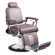 Professional High Quality Hydraulic Reclining Barber Chair Classic Vintage Brown